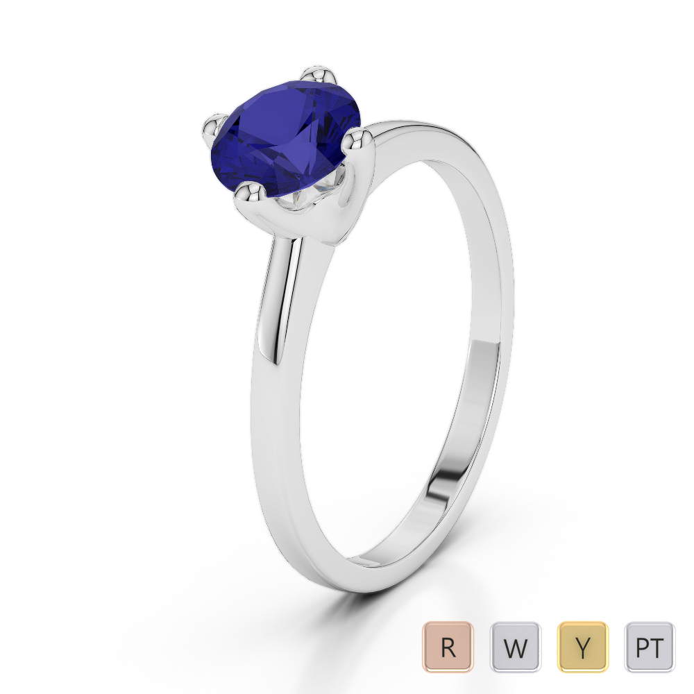 Gold / Platinum Round Cut Sapphire Engagement Ring AGDR-2028