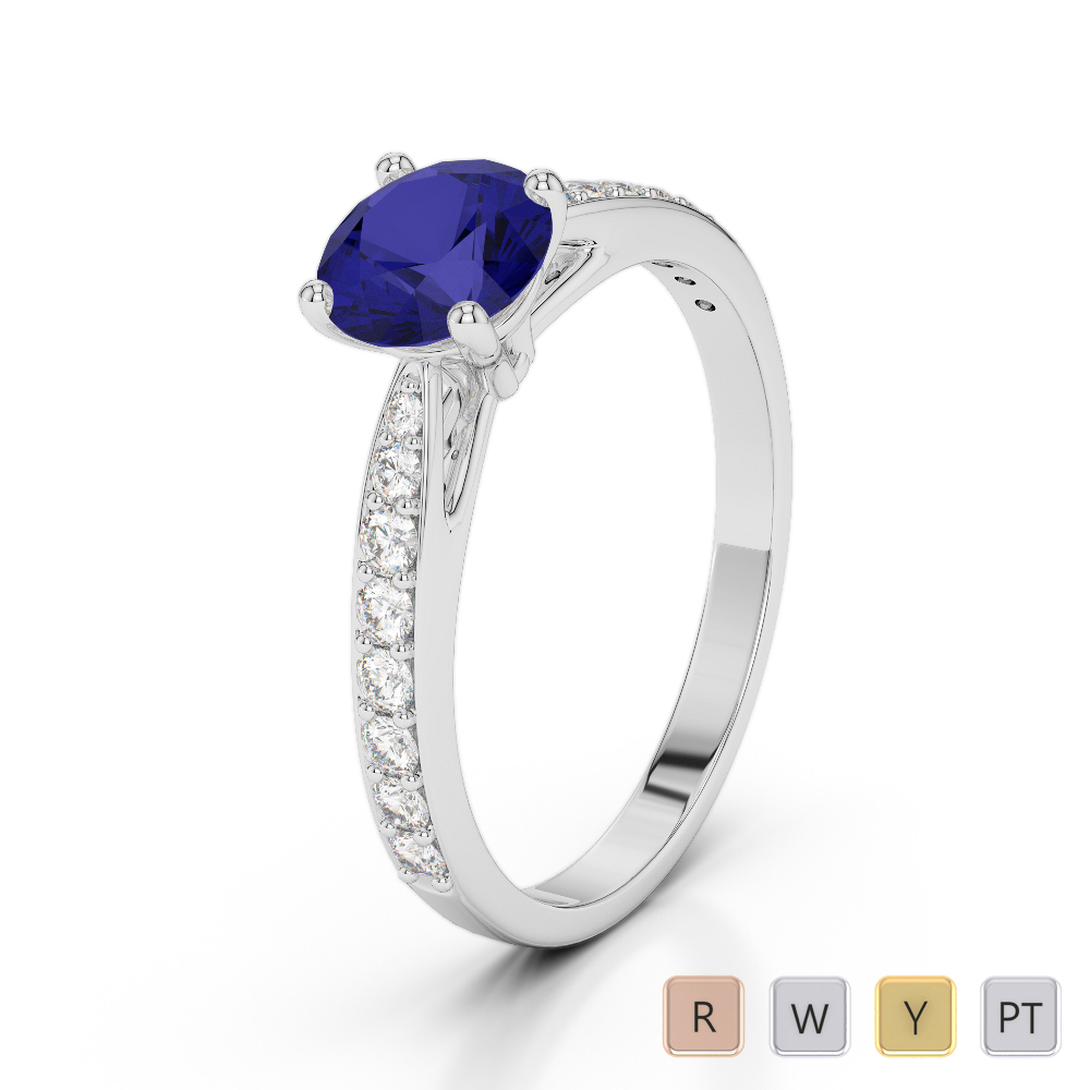 Gold / Platinum Round Cut Sapphire and Diamond Engagement Ring AGDR-2032