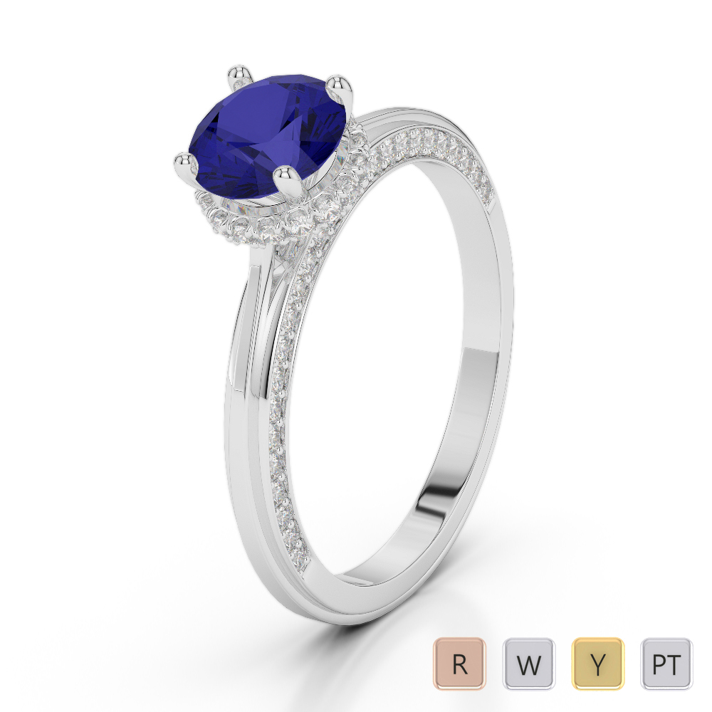 Gold / Platinum Round Cut Sapphire and Diamond Engagement Ring AGDR-2034