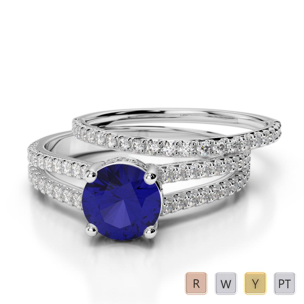Gold / Platinum Round cut Sapphire and Diamond Bridal Set Ring AGDR-2035