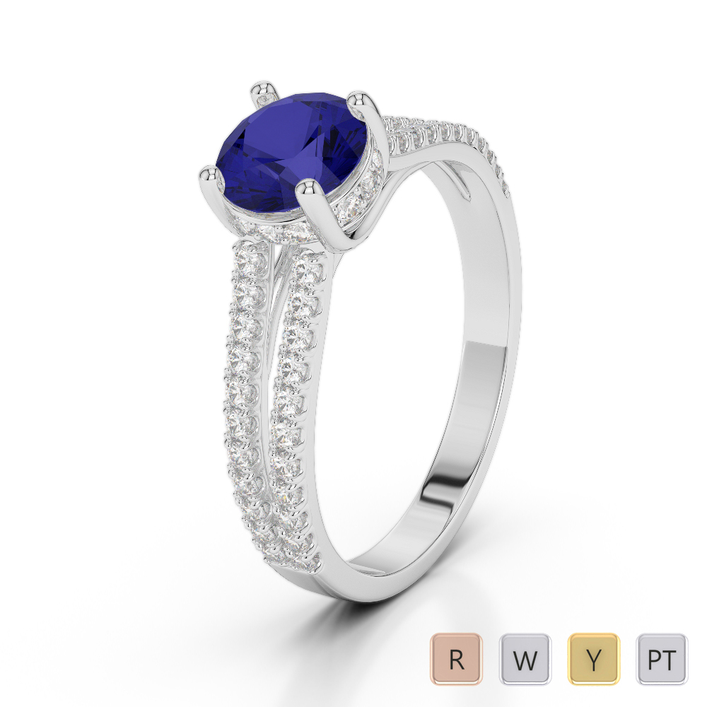 Gold / Platinum Round Cut Sapphire and Diamond Engagement Ring AGDR-2036