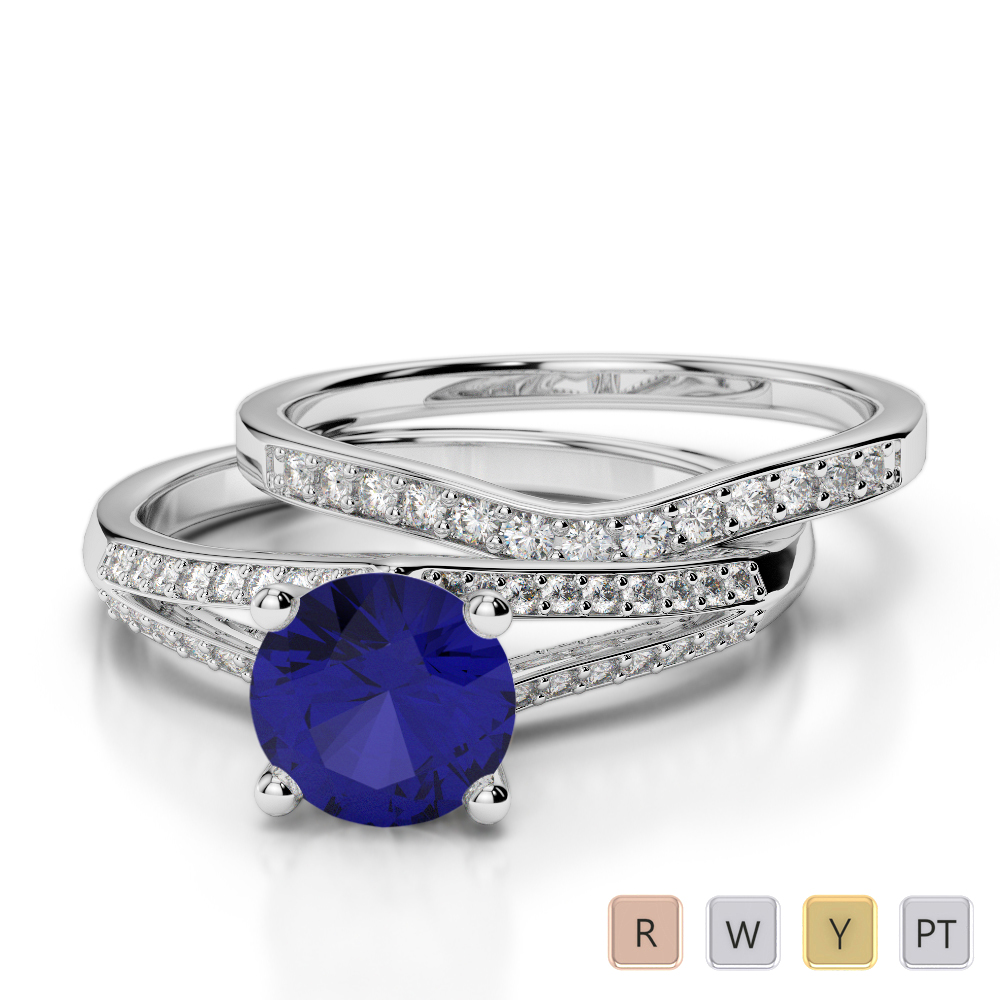 Gold / Platinum Round cut Sapphire and Diamond Bridal Set Ring AGDR-2037