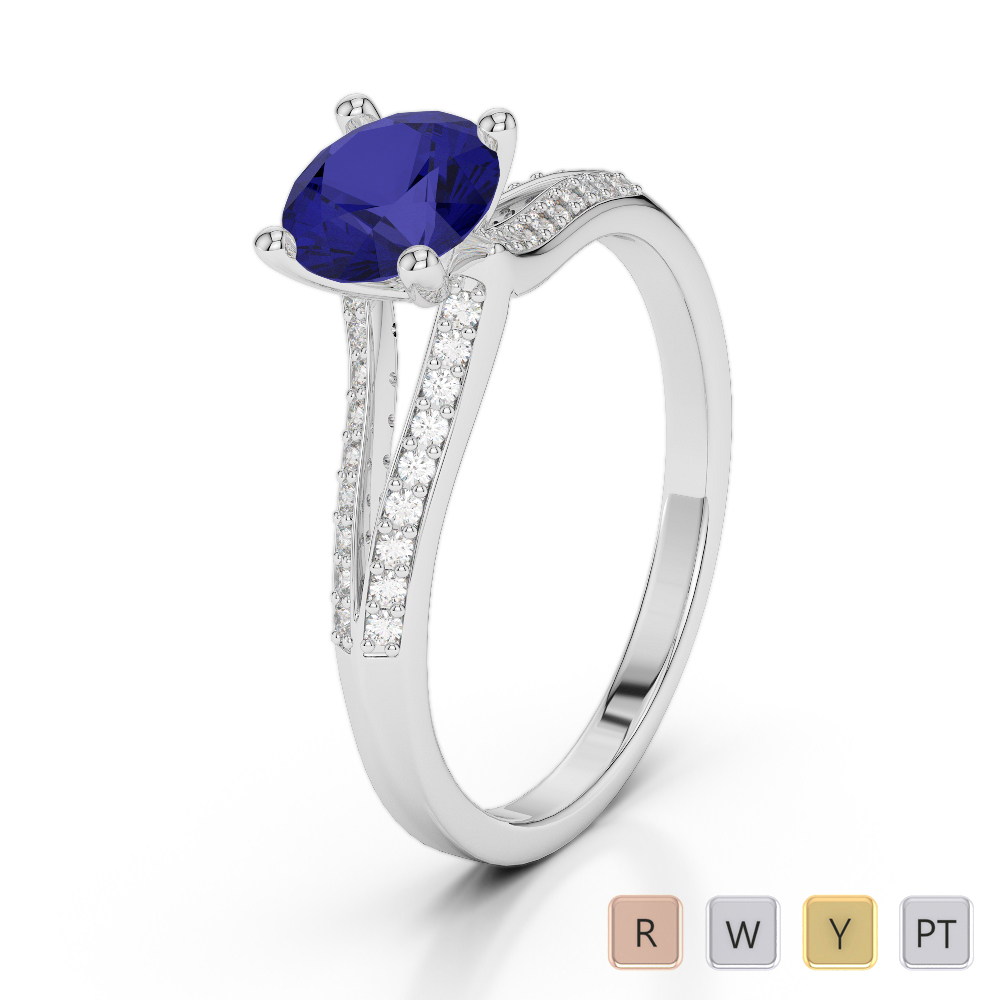 Gold / Platinum Round Cut Sapphire and Diamond Engagement Ring AGDR-2038