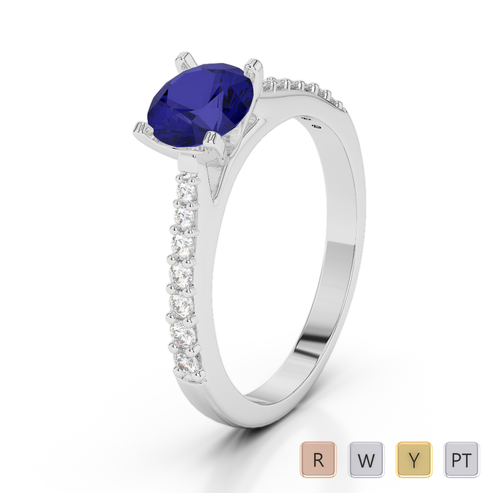 Gold / Platinum Round Cut Sapphire and Diamond Engagement Ring AGDR-2040