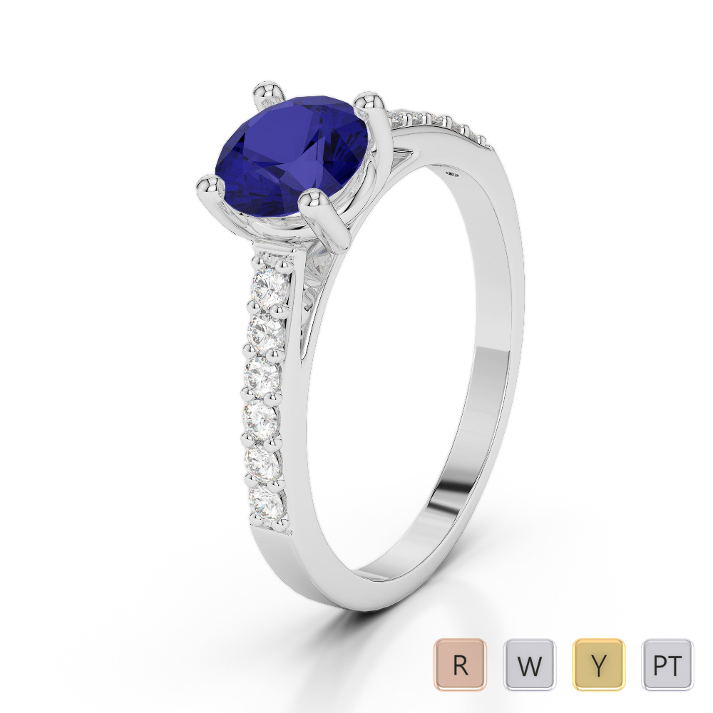 Gold / Platinum Round Cut Sapphire and Diamond Engagement Ring AGDR-2042