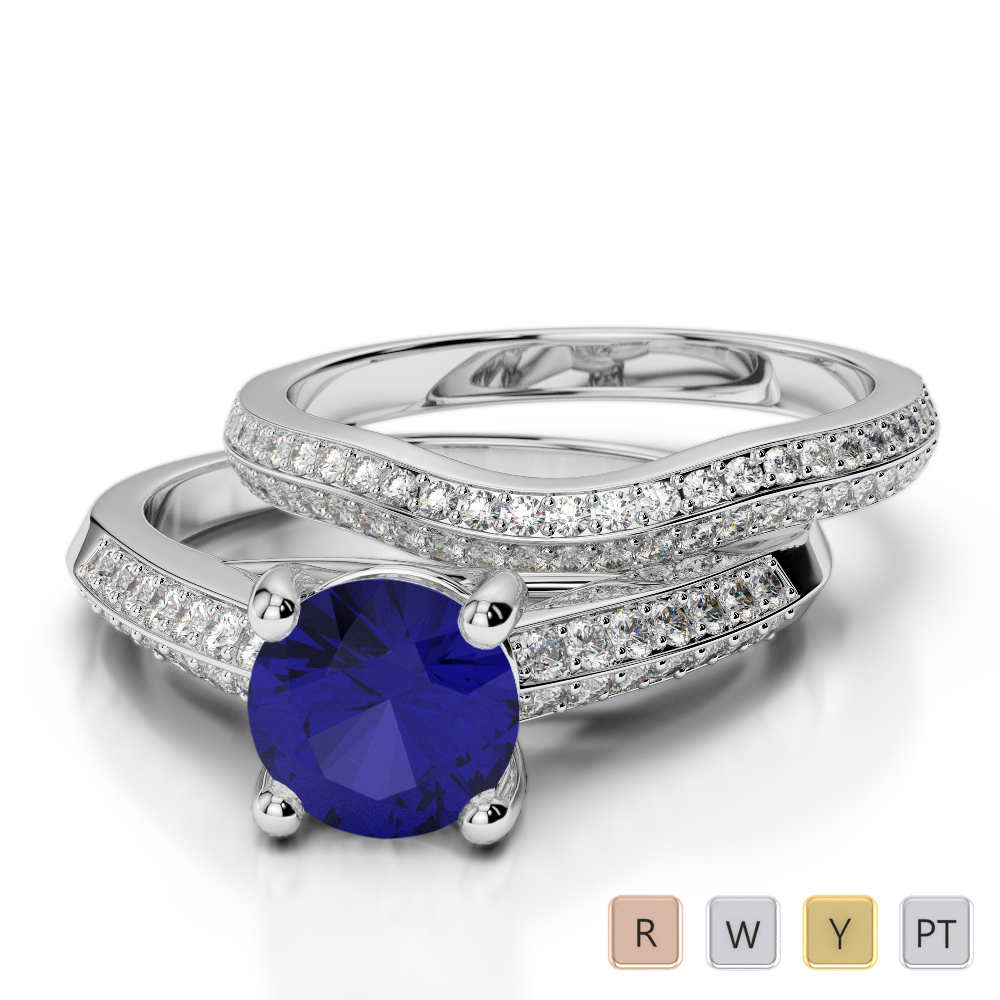Gold / Platinum Round cut Sapphire and Diamond Bridal Set Ring AGDR-2043