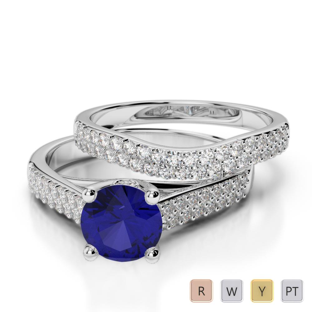 Gold / Platinum Round cut Sapphire and Diamond Bridal Set Ring AGDR-2045