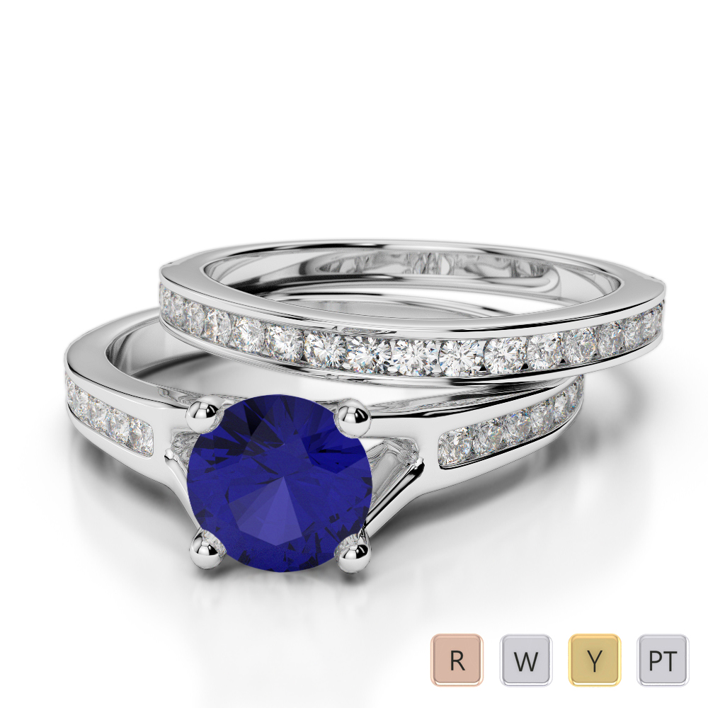 Gold / Platinum Round cut Sapphire and Diamond Bridal Set Ring AGDR-2047