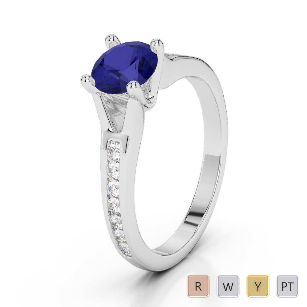 Gold / Platinum Round Cut Sapphire and Diamond Engagement Ring AGDR-2048