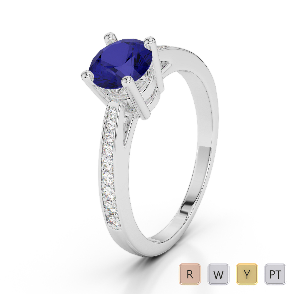 Gold / Platinum Round Cut Sapphire and Diamond Engagement Ring AGDR-2052