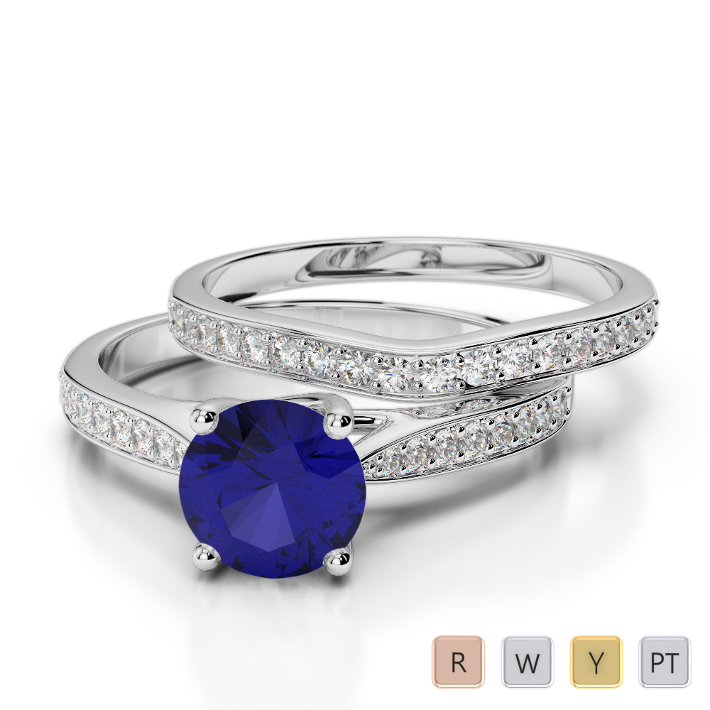 Gold / Platinum Round cut Sapphire and Diamond Bridal Set Ring AGDR-2053