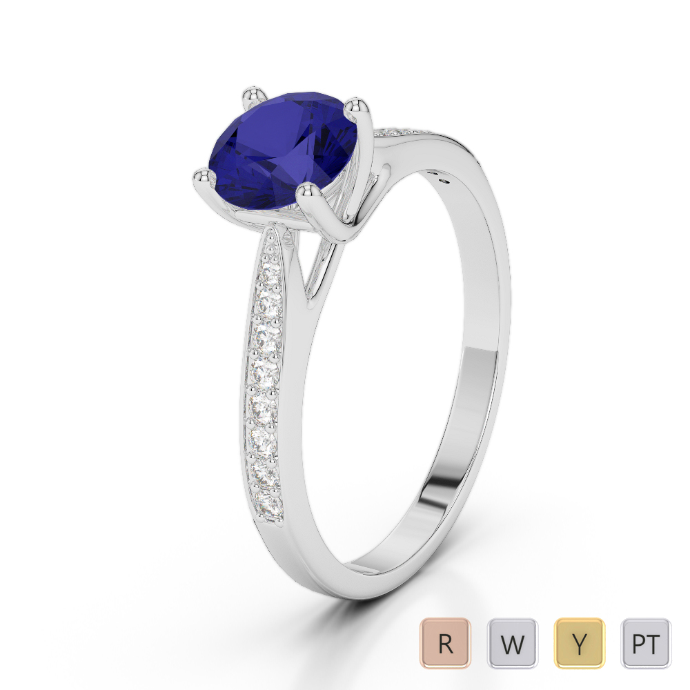 Gold / Platinum Round Cut Sapphire and Diamond Engagement Ring AGDR-2054