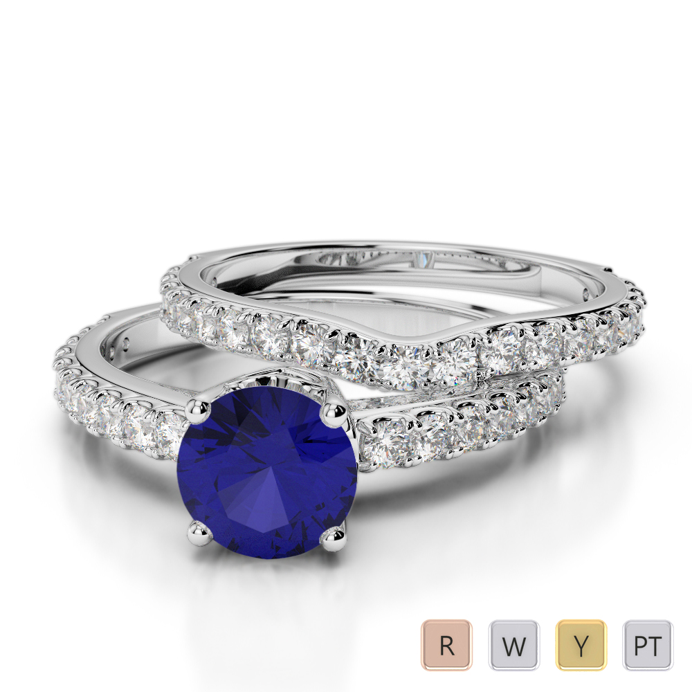 Gold / Platinum Round cut Sapphire and Diamond Bridal Set Ring AGDR-2055