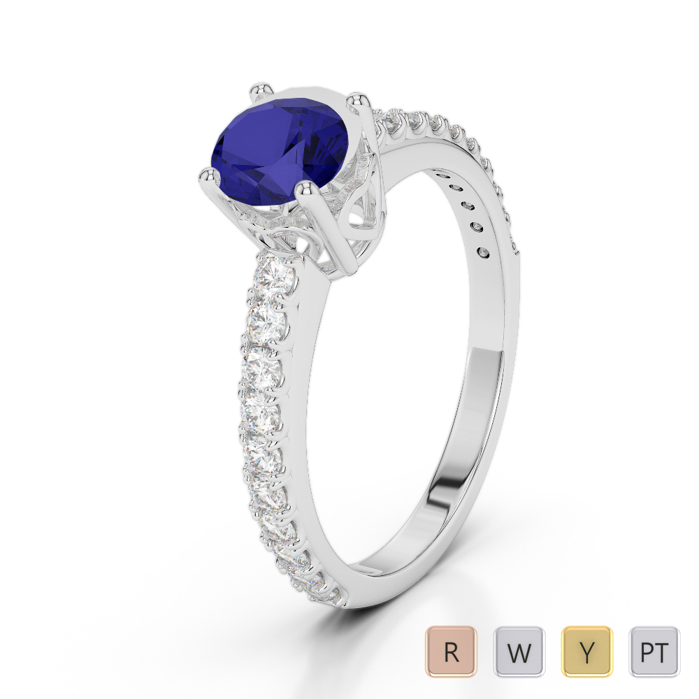 Gold / Platinum Round Cut Sapphire and Diamond Engagement Ring AGDR-2056