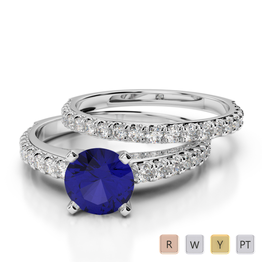 Gold / Platinum Round cut Sapphire and Diamond Bridal Set Ring AGDR-2057