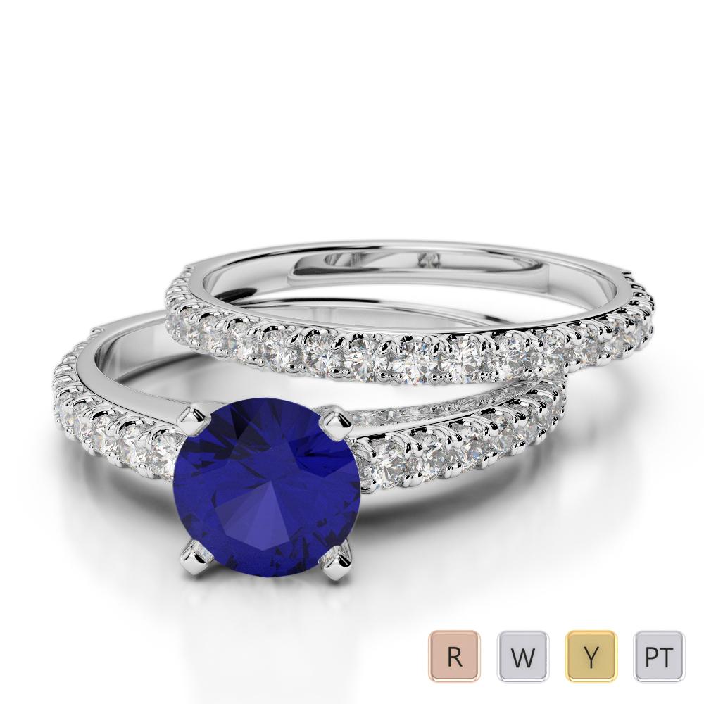 Gold / Platinum Round cut Sapphire and Diamond Bridal Set Ring AGDR-2057