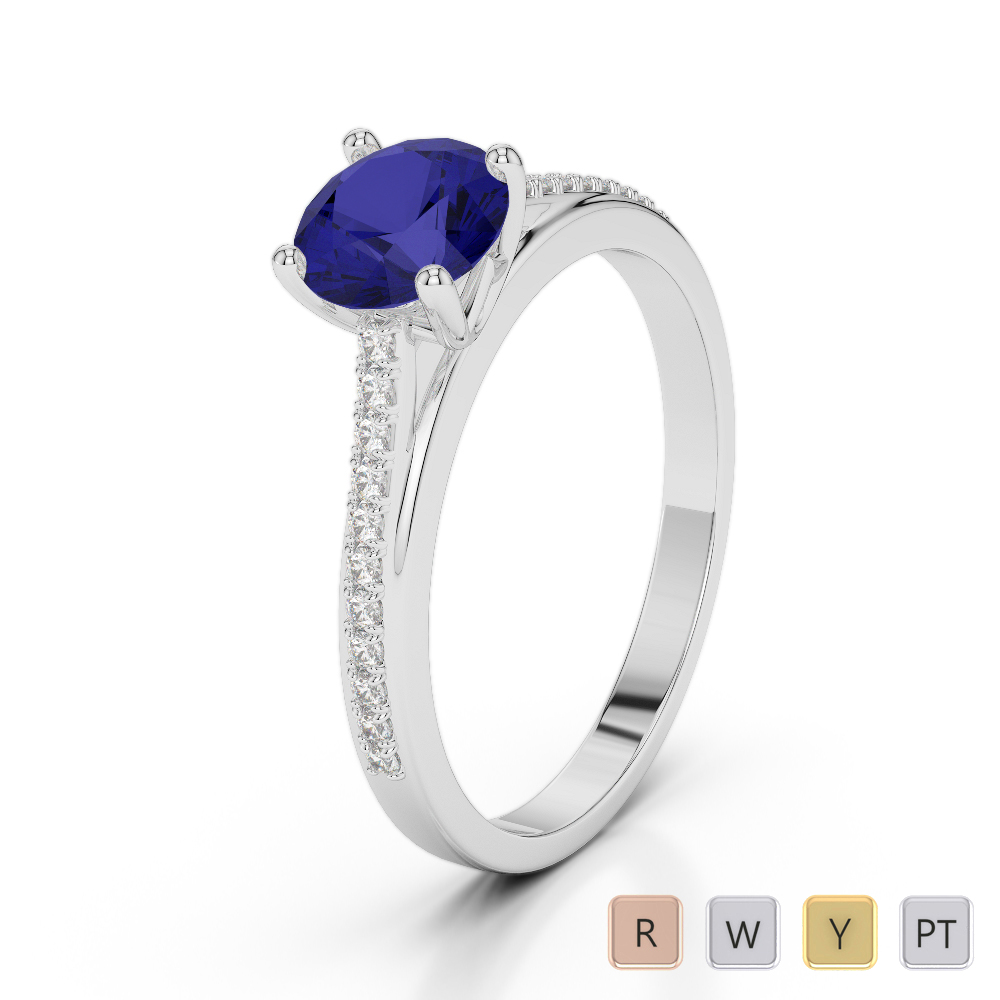 Gold / Platinum Round Cut Sapphire and Diamond Engagement Ring AGDR-2062