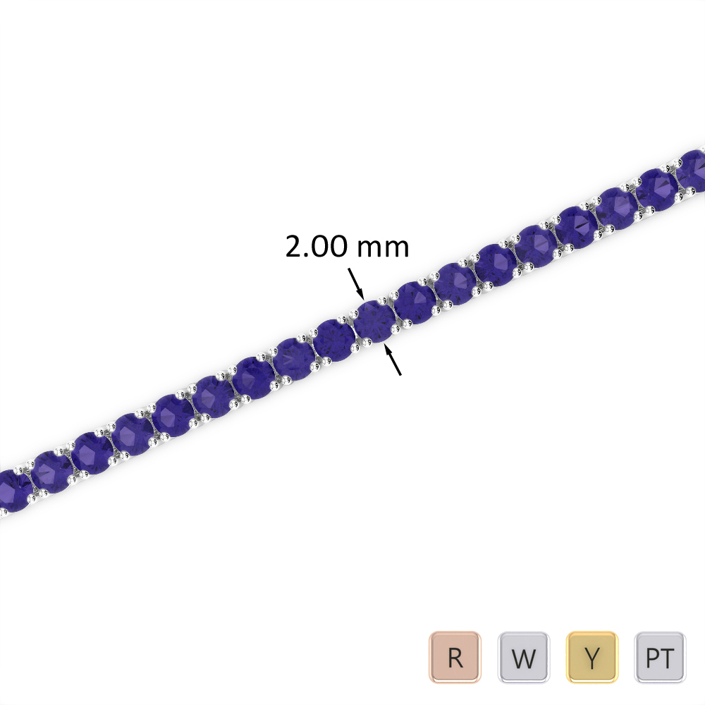 3 Ct Tanzanite Bracelet in Gold/Platinum AGBRL-1003