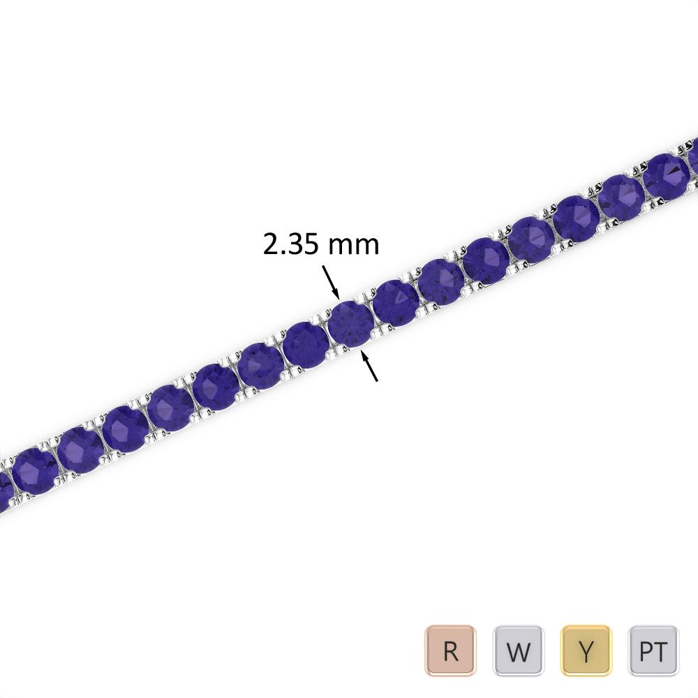3 Ct Tanzanite Bracelet in Gold/Platinum AGBRL-1015