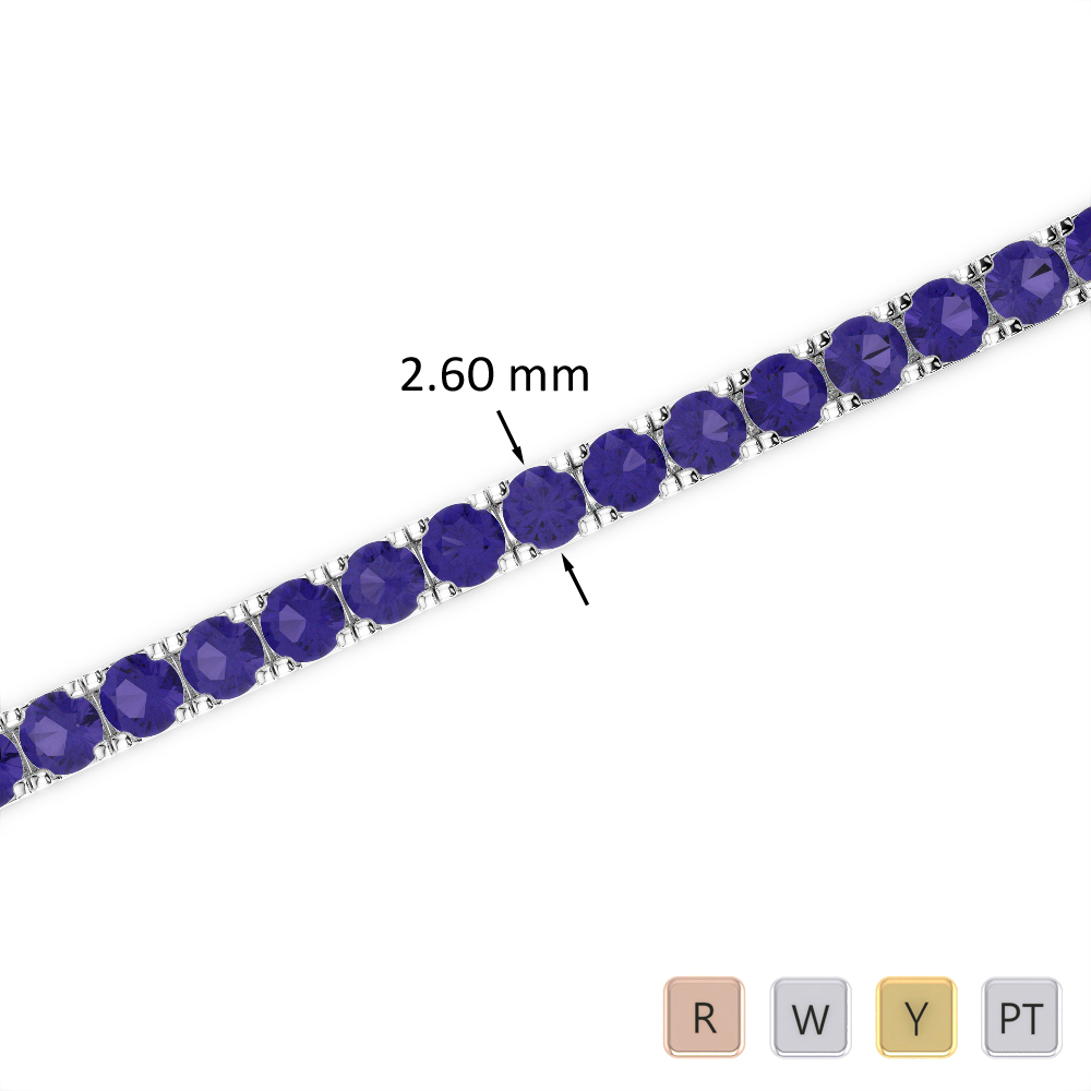 5 Ct Tanzanite Bracelet in Gold/Platinum AGBRL-1017