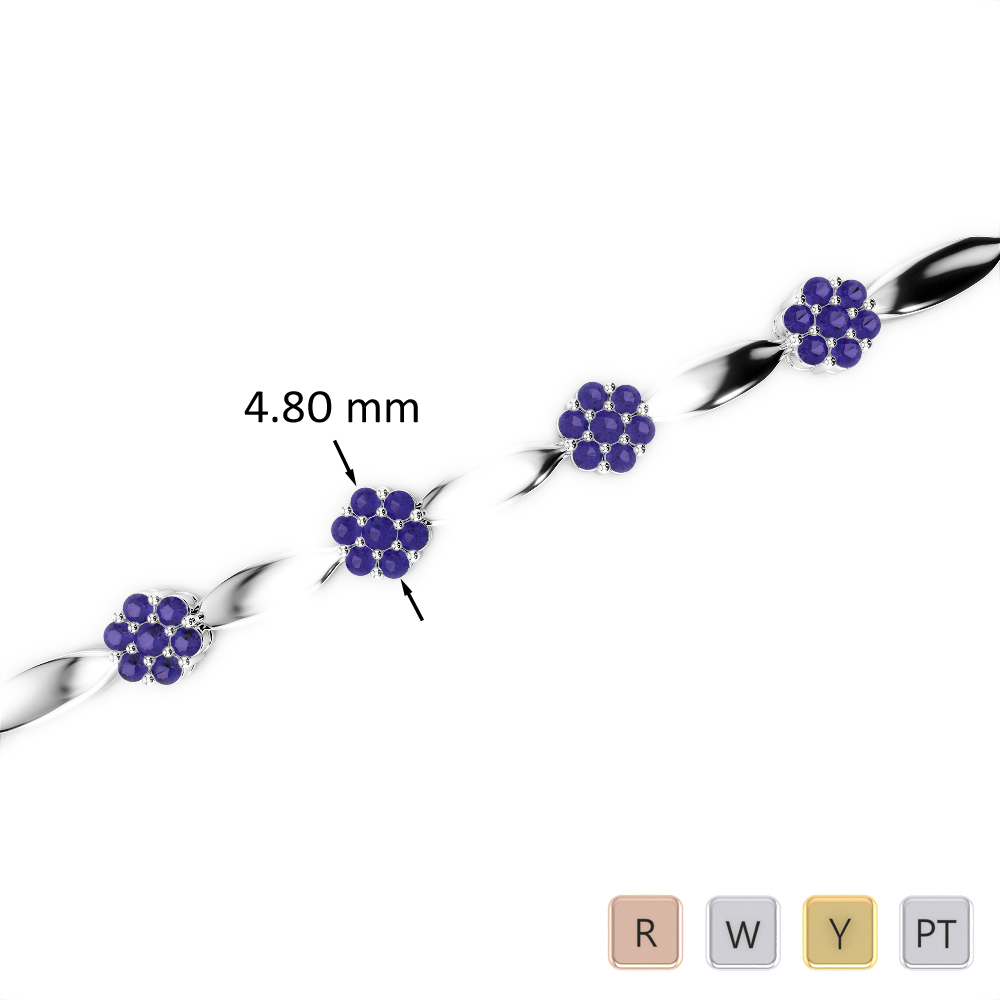 1 Ct Tanzanite Bracelet in Gold/Platinum AGBRL-1029