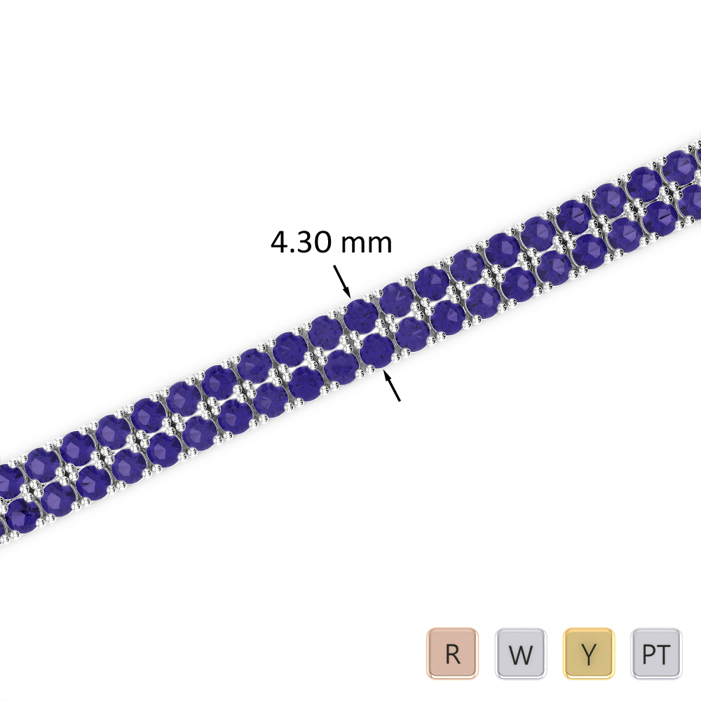 6 Ct Tanzanite Bracelet in Gold/Platinum AGBRL-1032