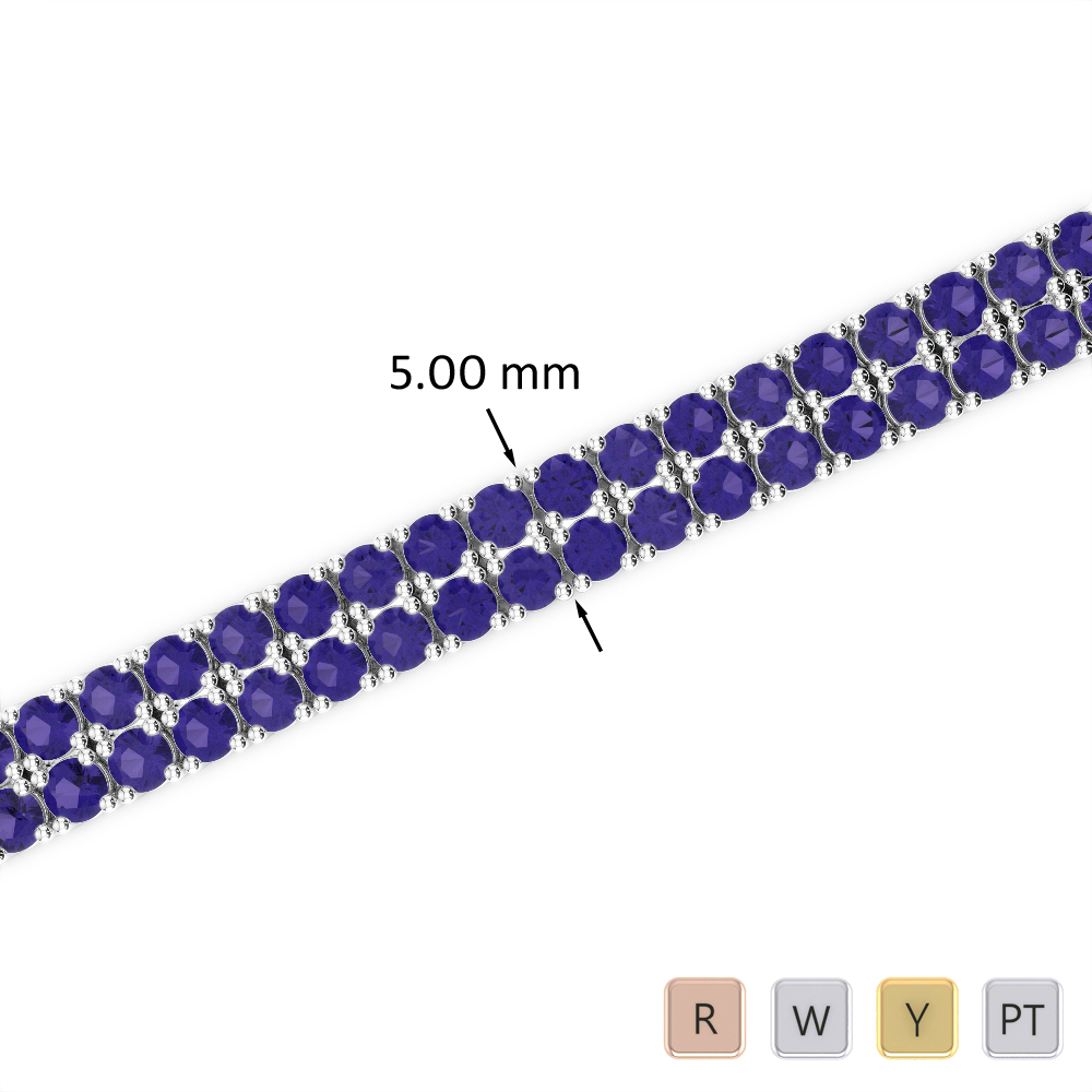 7 Ct Tanzanite Bracelet in Gold/Platinum AGBRL-1034