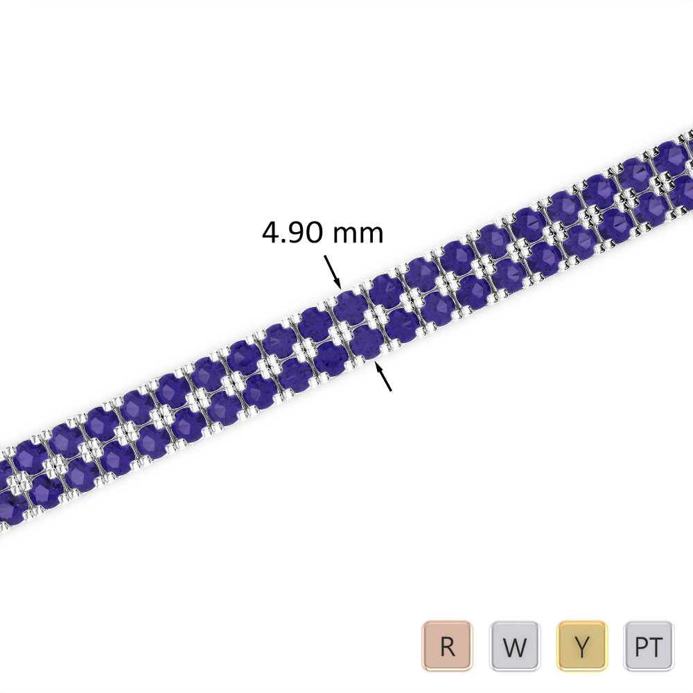 6 Ct Tanzanite Bracelet in Gold/Platinum AGBRL-1044