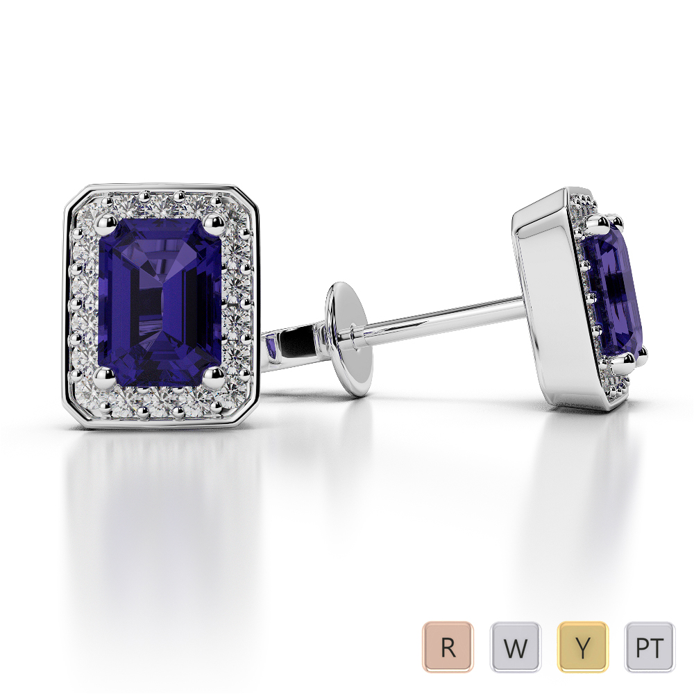 Emerald Shape Tanzanite and Diamond Earrings in Gold / Platinum AGER-1063