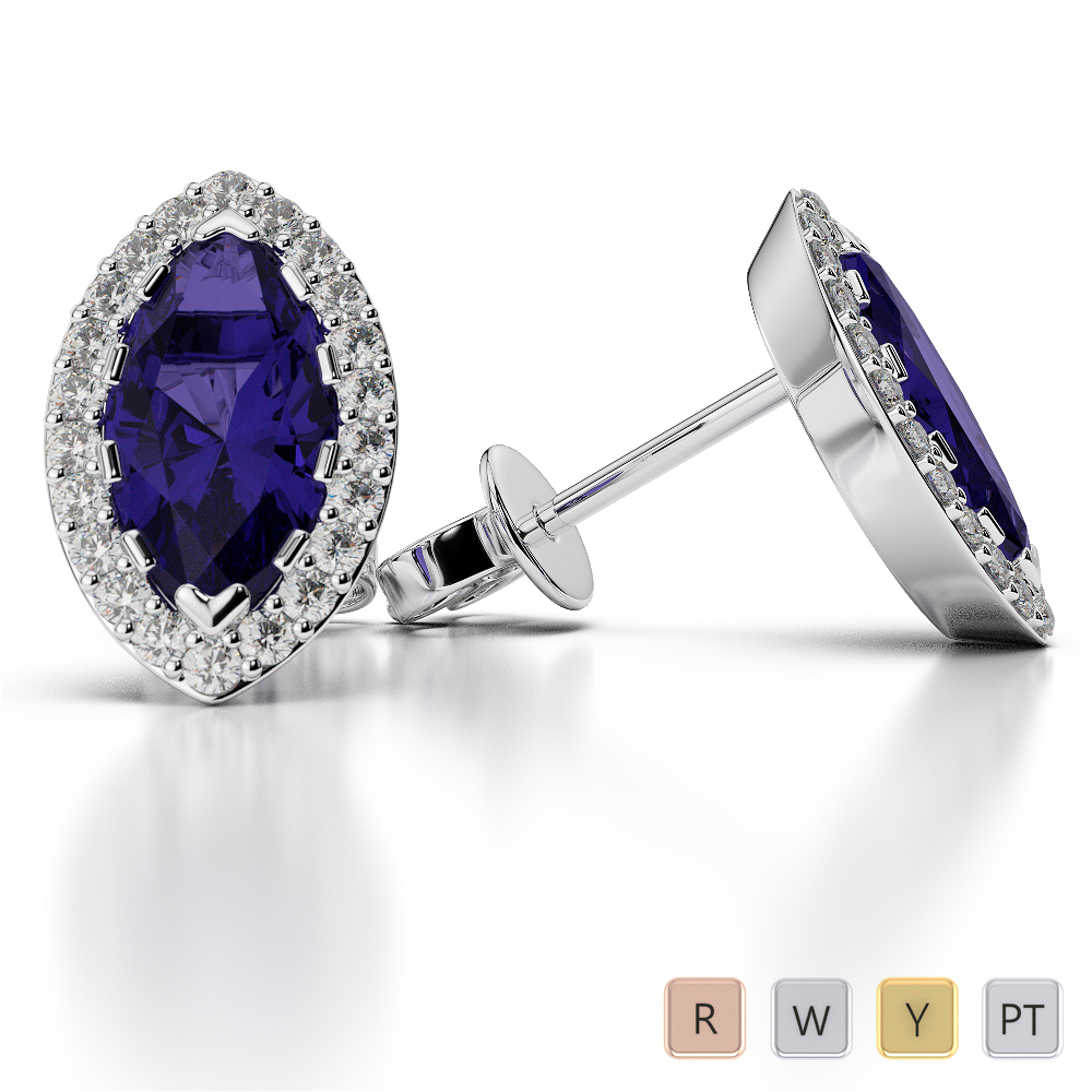 Marquise Shape Tanzanite and Diamond Earrings in Gold / Platinum AGER-1068