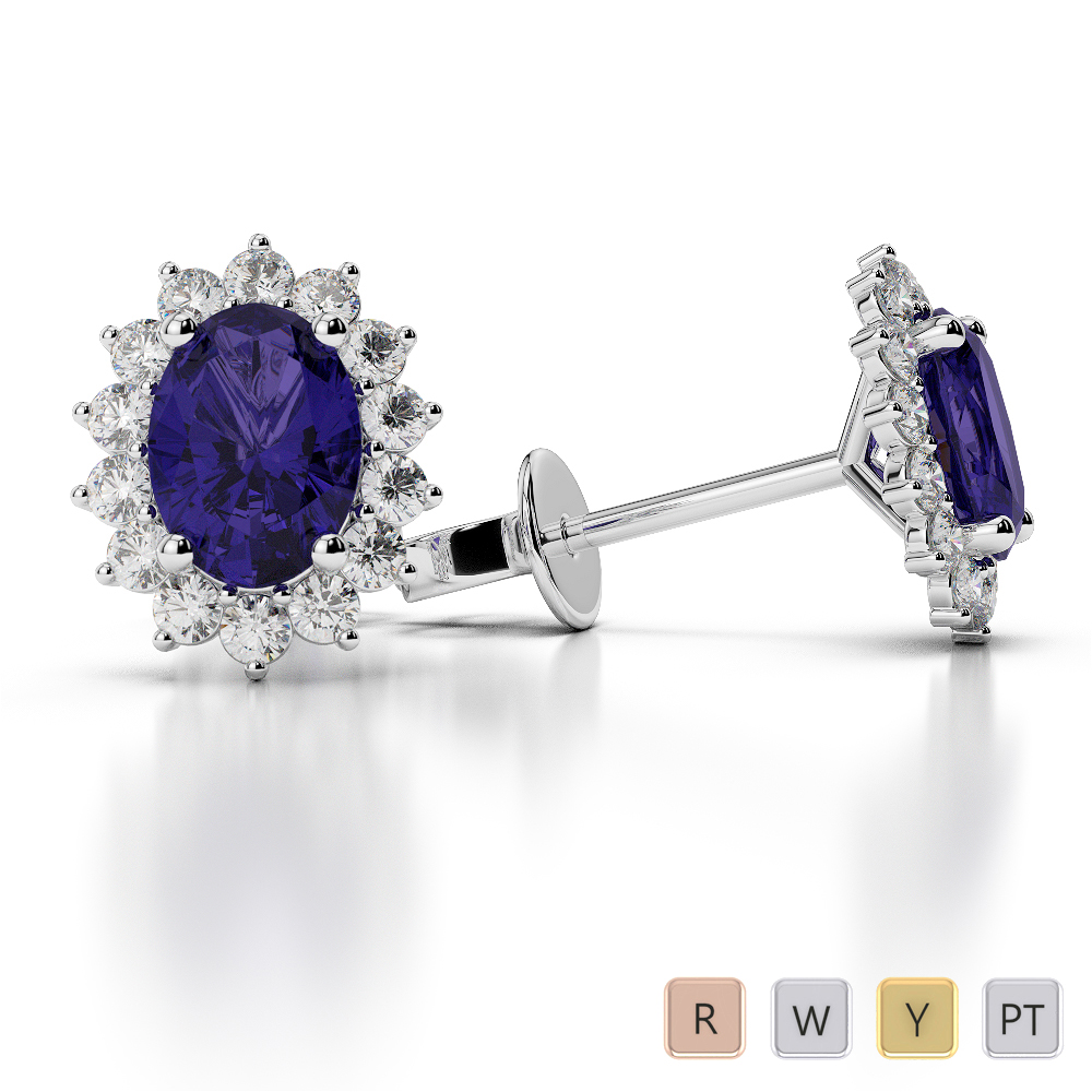 Oval Shape Tanzanite and Diamond Earrings in Gold / Platinum AGER-1071
