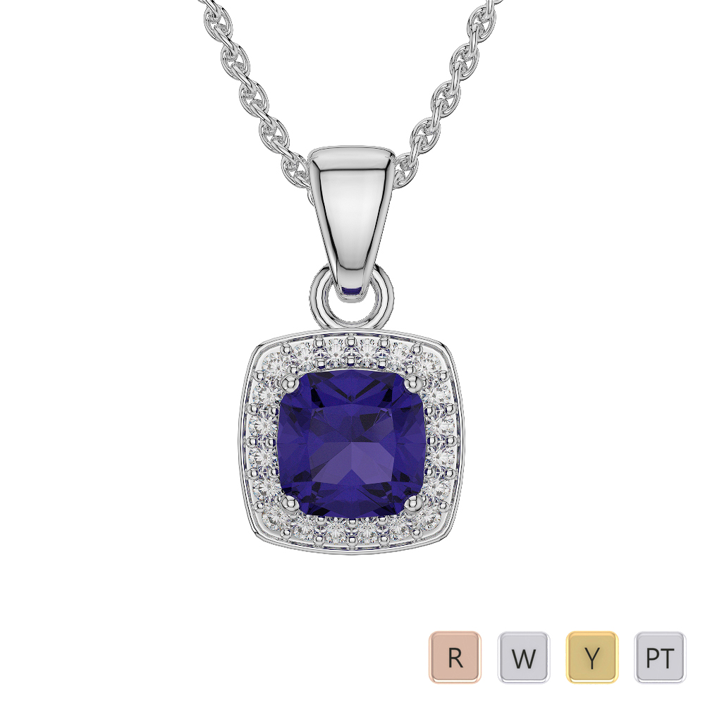 Gold / Platinum Cushion Tanzanite Pendant Set AGPS-1061