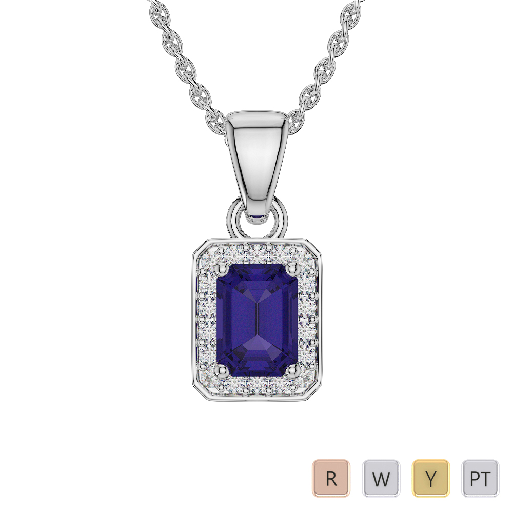 Emerald Shape Tanzanite and Diamond Necklaces in Gold / Platinum AGDNC-1063