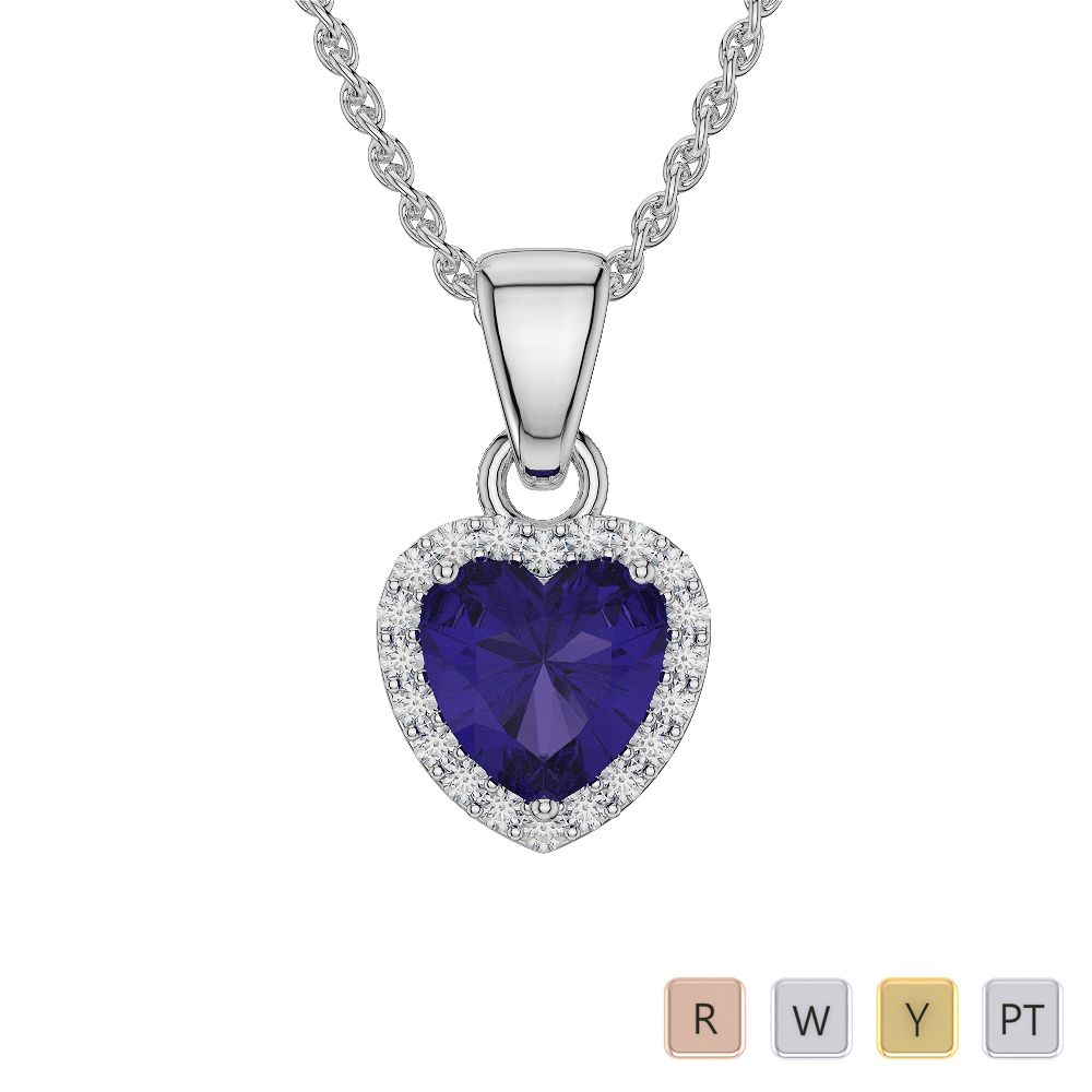 Heart Shape Tanzanite and Diamond Necklaces in Gold / Platinum AGDNC-1064