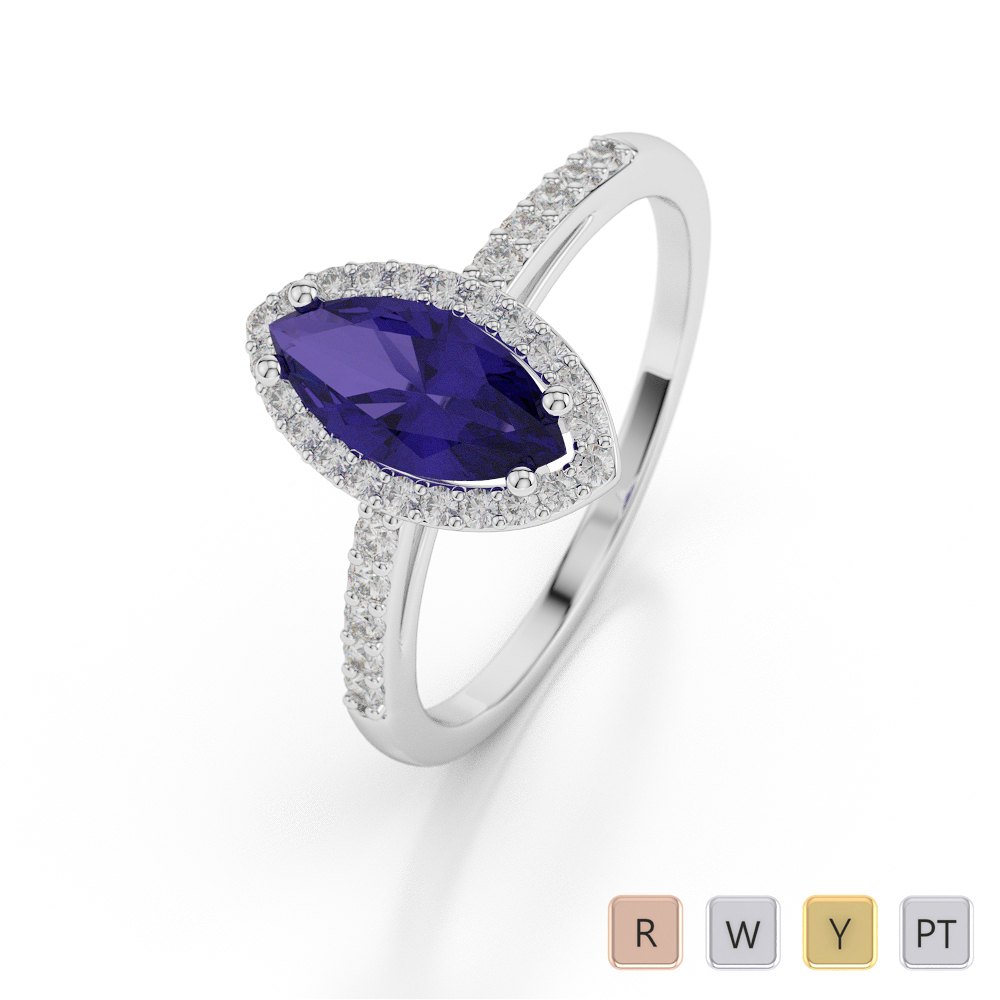 Gold / Platinum Marquise Shape Tanzanite and Diamond Ring AGDR-1067