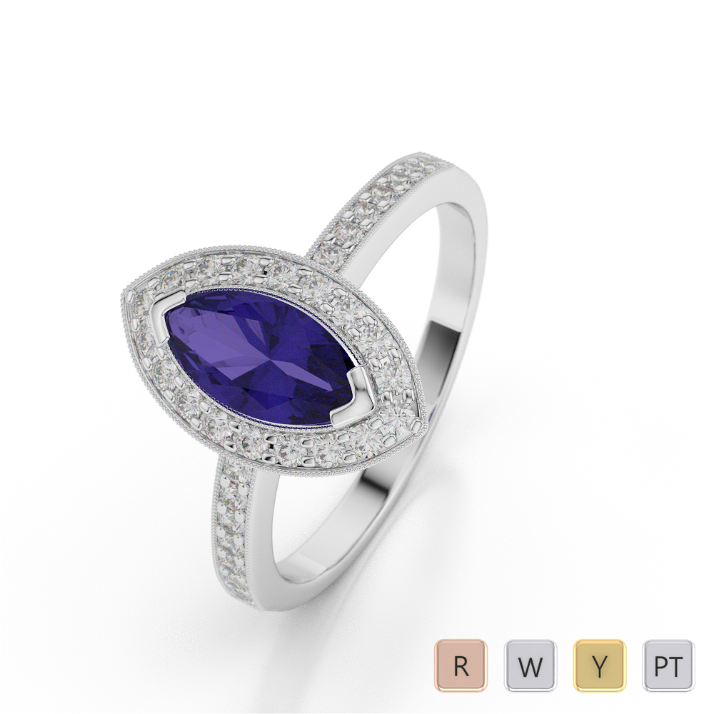 Gold / Platinum Marquise Shape Tanzanite and Diamond Ring AGDR-1069