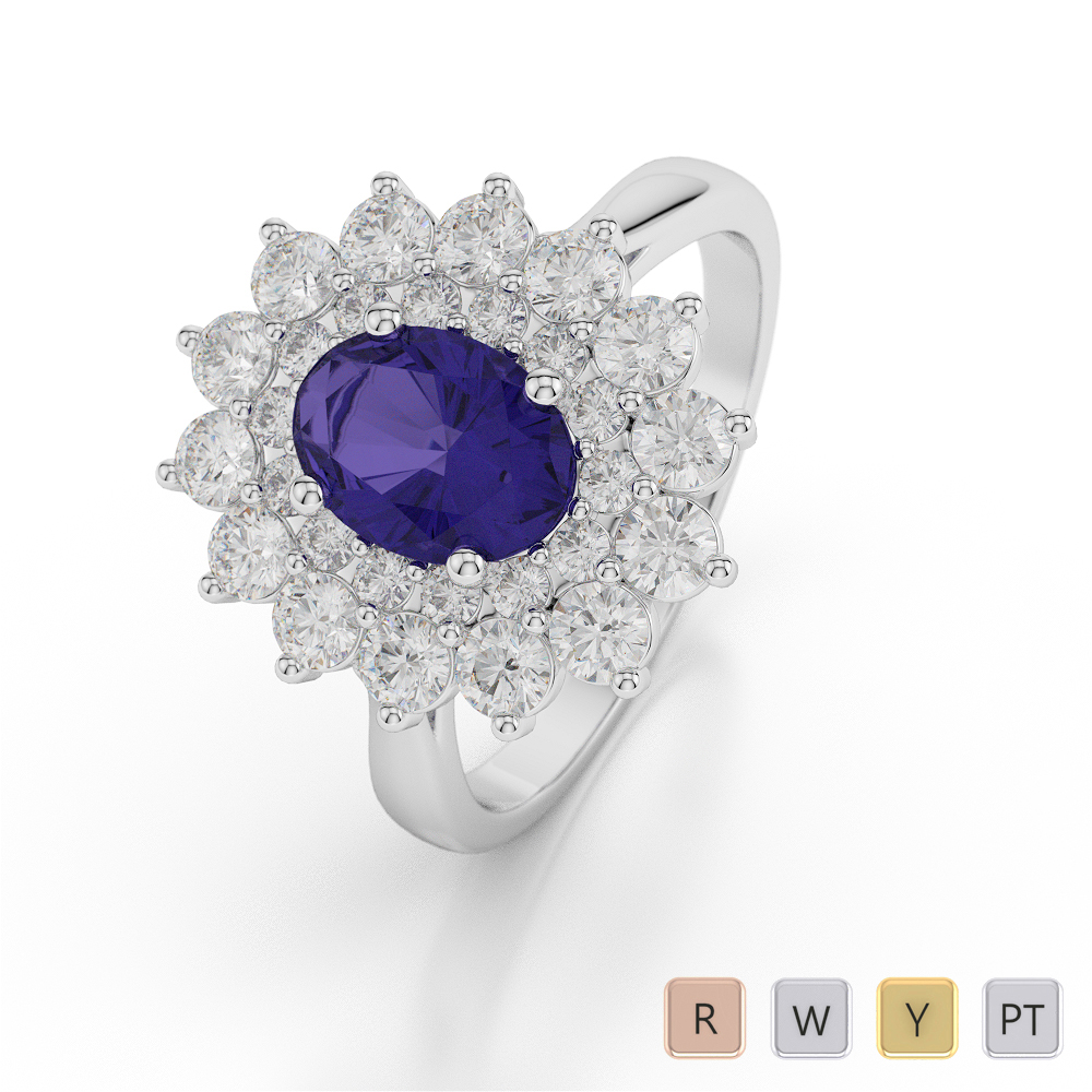 Gold / Platinum Oval Shape Tanzanite and Diamond Ring AGDR-1073