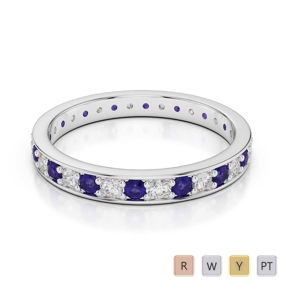 2.5 MM Gold / Platinum Round Cut Tanzanite and Diamond Full Eternity Ring AGDR-1079