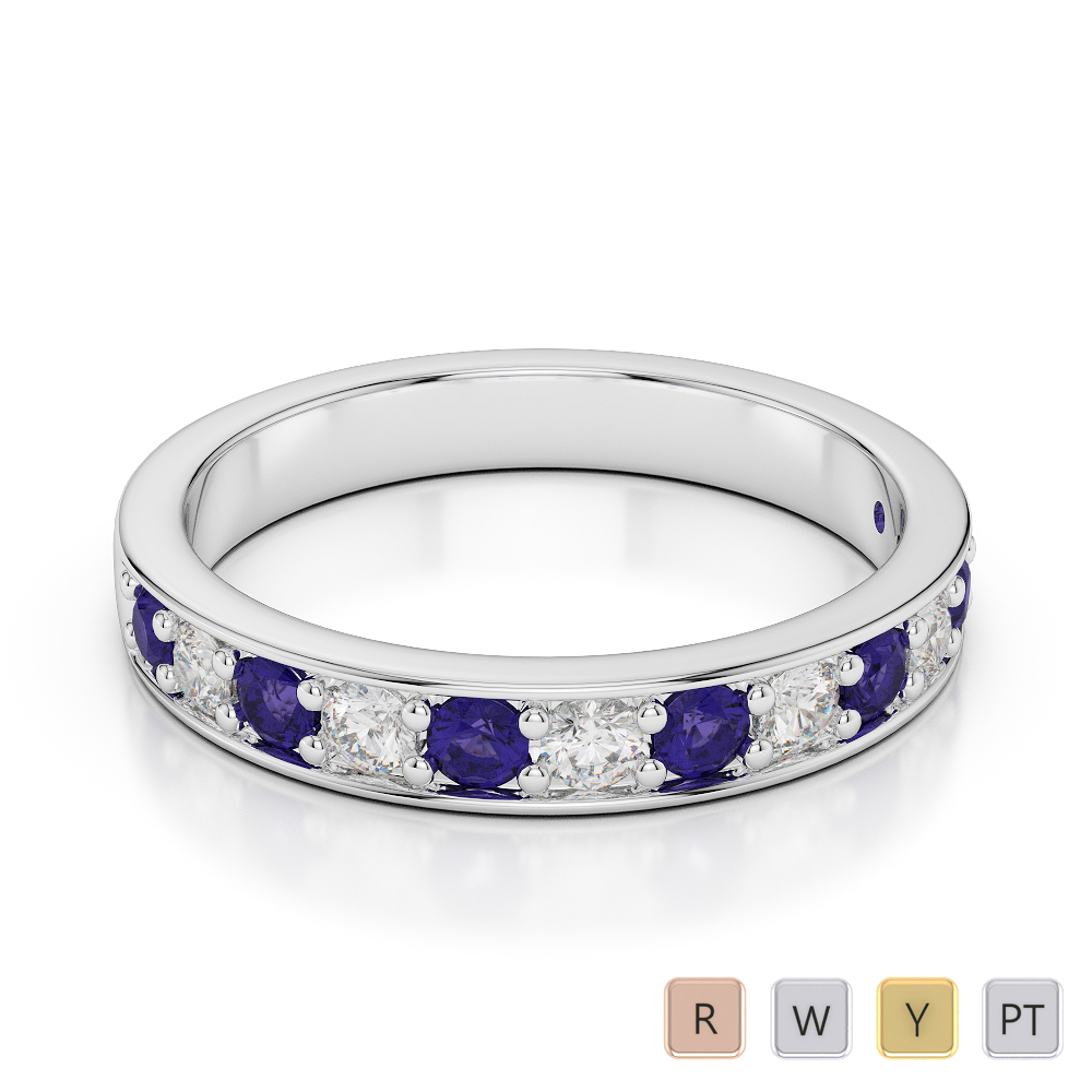 3 MM Gold / Platinum Round Cut Tanzanite and Diamond Half Eternity Ring AGDR-1084
