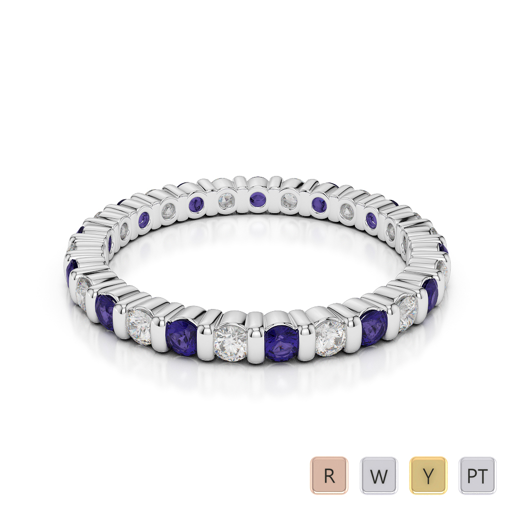 2 MM Gold / Platinum Round Cut Tanzanite and Diamond Full Eternity Ring AGDR-1092