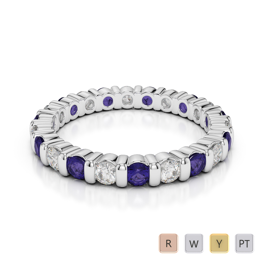 2.5 MM Gold / Platinum Round Cut Tanzanite and Diamond Full Eternity Ring AGDR-1093