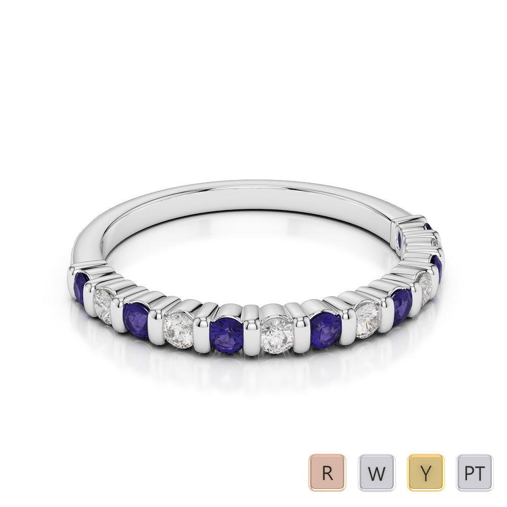 2 MM Gold / Platinum Round Cut Tanzanite and Diamond Half Eternity Ring AGDR-1095