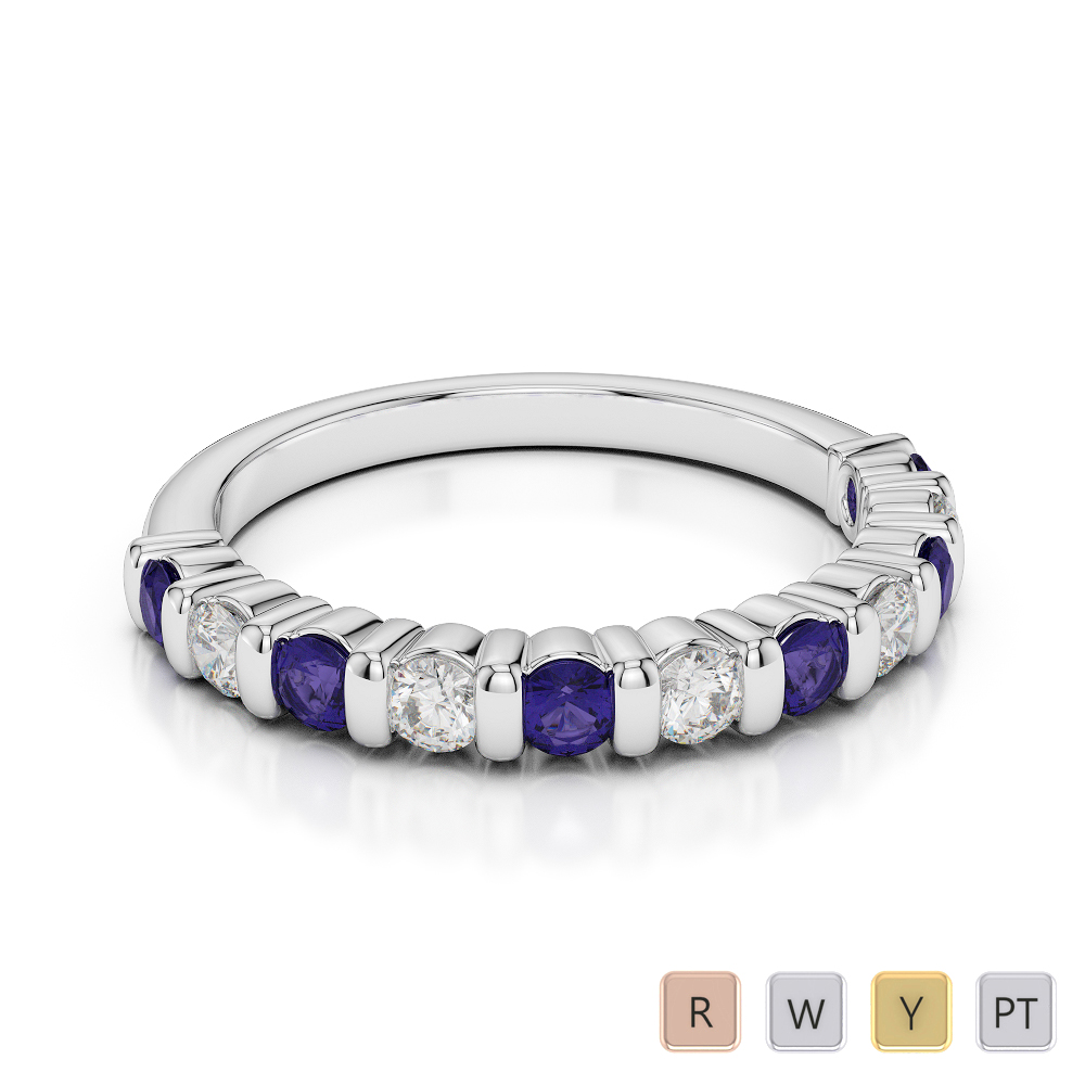 2.5 MM Gold / Platinum Round Cut Tanzanite and Diamond Half Eternity Ring AGDR-1096