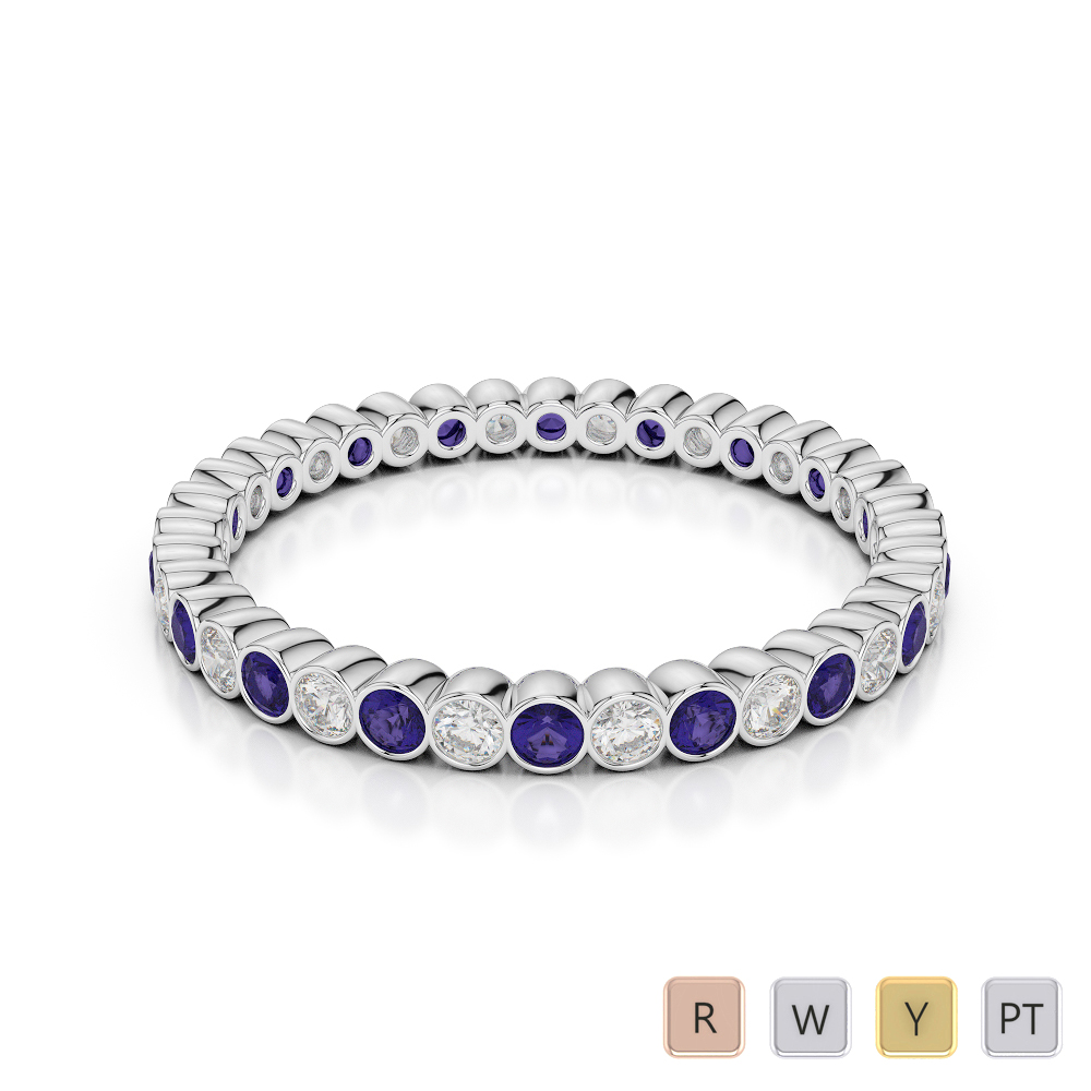 2 MM Gold / Platinum Round Cut Tanzanite and Diamond Full Eternity Ring AGDR-1098