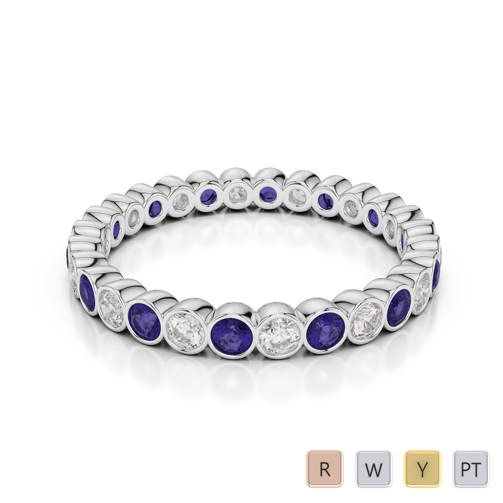 2.5 MM Gold / Platinum Round Cut Tanzanite and Diamond Full Eternity Ring AGDR-1099