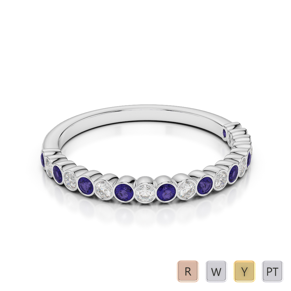 2 MM Gold / Platinum Round Cut Tanzanite and Diamond Half Eternity Ring AGDR-1101