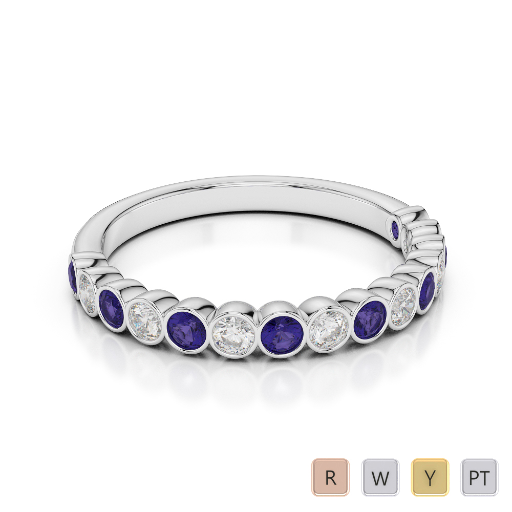 Gold / Platinum Round Cut Tanzanite and Diamond Half Eternity Ring AGDR-1102