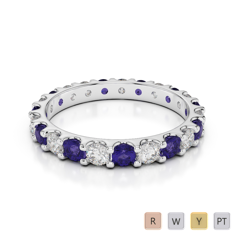 2.5 MM Gold / Platinum Round Cut Tanzanite and Diamond Full Eternity Ring AGDR-1105