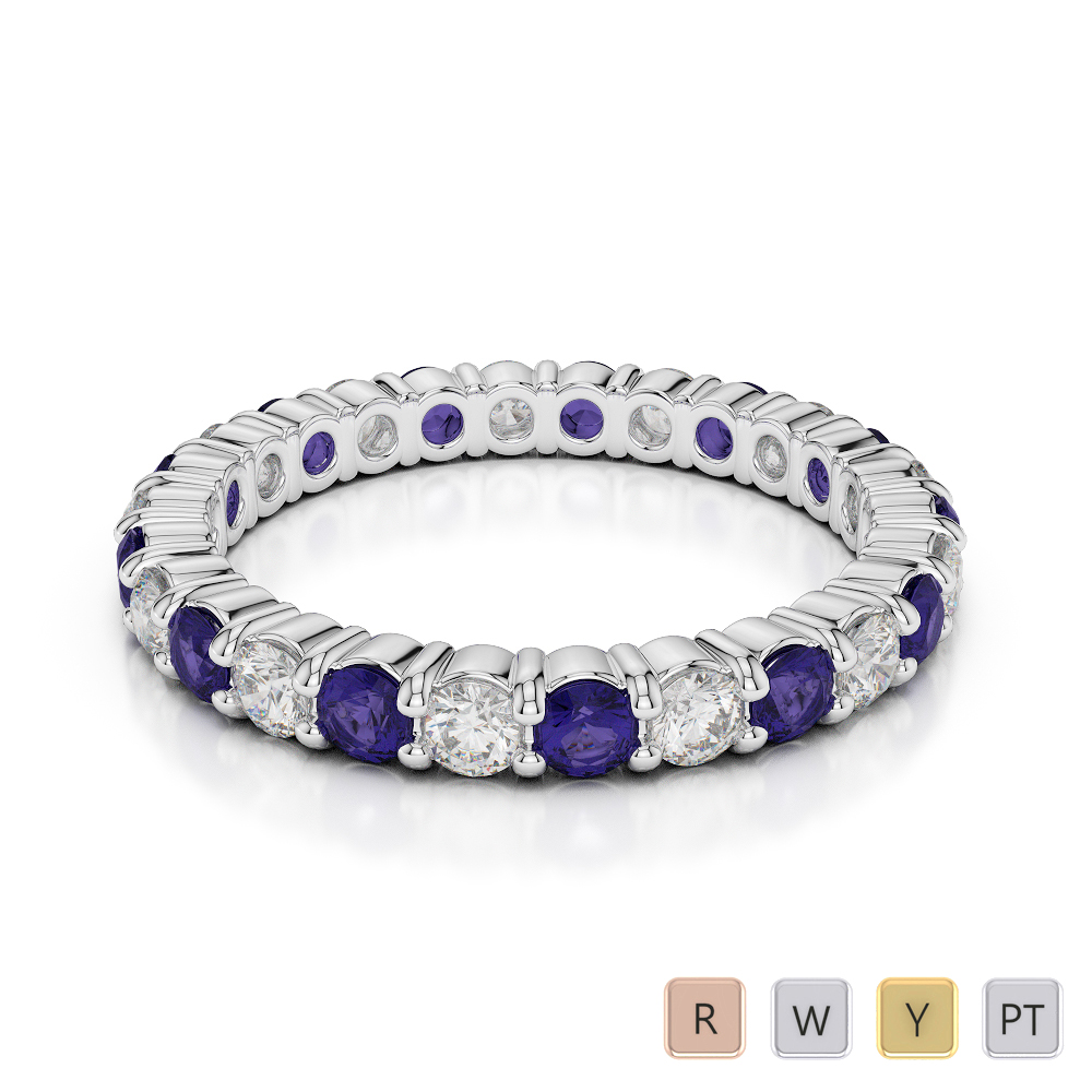 2.5 MM Gold / Platinum Round Cut Tanzanite and Diamond Full Eternity Ring AGDR-1111