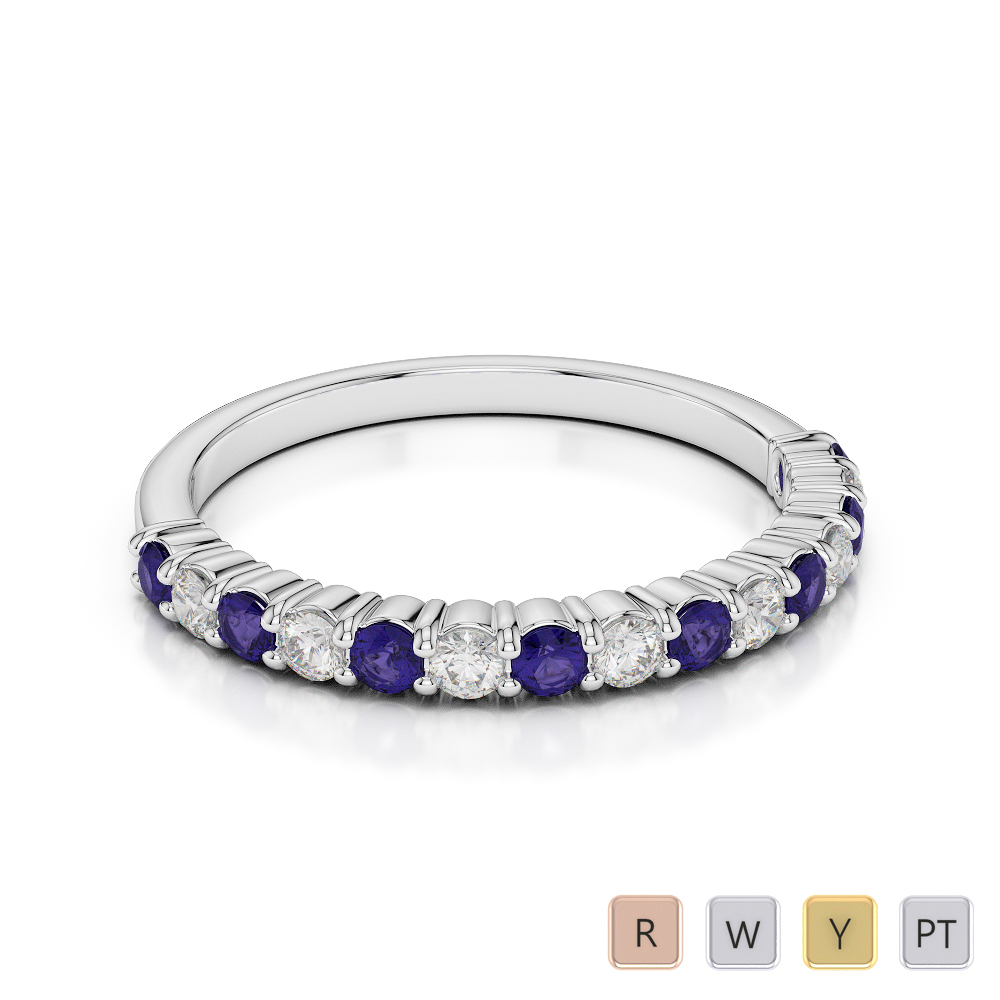 Gold / Platinum Round Cut Tanzanite and Diamond Half Eternity Ring AGDR-1113